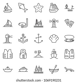 thin line icon set - chasm vector, manager yacht, paper ship, fish, offshore oil platform, sail boat, cruiser, lighthouse, shell, starfish, island, life vest, anchor, canoe, flippers, diving