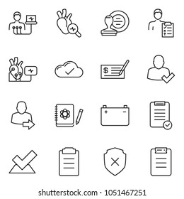thin line icon set - check vector, stamp, list, cloud, battery, heart diagnostic, diagnosis, logbook, shield cross, user login, clipboard
