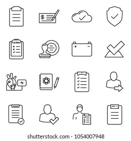 thin line icon set - check vector, stamp, clipboard list, cloud, battery, heart diagnostic, diagnosis, logbook, shield, user login