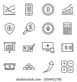 thin line icon set - check vector, monitor and phone, calculator, search money, wallet, dollar shield, gold, presentation, mobile pay, growth chart, arrow, line, atm cash, bitcoin sign, etherium