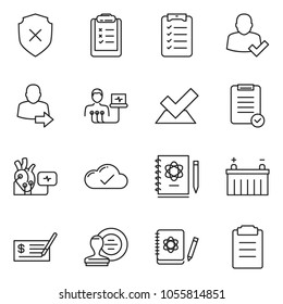 thin line icon set - check vector, stamp, clipboard list, cloud, battery, heart diagnostic, diagnosis, logbook, shield cross, user login