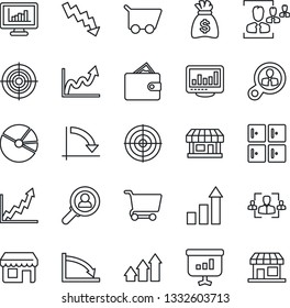Thin Line Icon Set - checkroom vector, growth statistic, money bag, crisis graph, store, monitor statistics, pie, hr, target, consumer search, arrow up, wallet, cart, presentation, storefront
