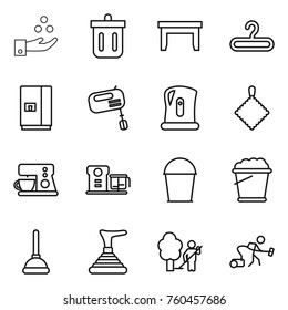 Thin line icon set : chemical industry, bin, table, hanger, fridge, mixer, kettle, rag, coffee maker, food processor, bucket, foam, plunger, garden cleaning, vacuum cleaner