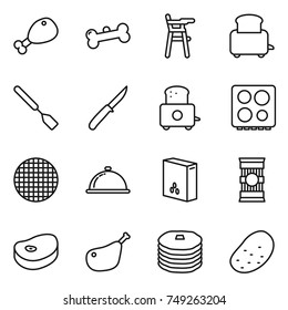 thin line icon set : chicken leg, bone, Chair for babies, toaster, spatula, knife, hob, sieve, meal cap, cereals, pasta, steake, pancakes, potato