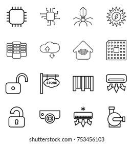 thin line icon set : chip, virus, sun power, server, cloude service, wireless home, cpu, unlock, store signboard, bar code, air conditioning, unlocked, surveillance camera, water pump