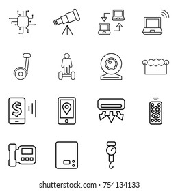 thin line icon set : chip, telescope, notebook connect, wireless, segway, hoverboard, web cam, electrostatic, mobile pay, location, air conditioning, remote control, intercome, kitchen scales