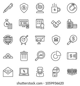 Tablet computer card reader images stock photos vectors thin line icon set circle chart vector business woman web camera around reheart Images