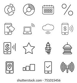 thin line icon set : circle diagram, calendar, percent, touch, notebook wireless, cloud, phone pay, mobile, star, spark plug, goverment house, location, sorting, checking