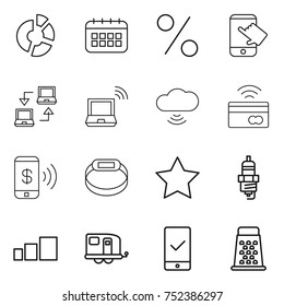 thin line icon set : circle diagram, calendar, percent, touch, notebook connect, wireless, cloud, tap to pay, phone, smart bracelet, star, spark plug, sorting, trailer, mobile checking, grater