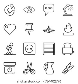 Thin Line Icon Set : Circle Diagram, Eye, Message, Table Lamp, Heart