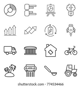 Thin line icon set : circle diagram, presentation, bulb brain, graph up, down arrow, battery charge, jet robot, delivery, airport building, smart house, bike, island, antique column, ladle, tractor