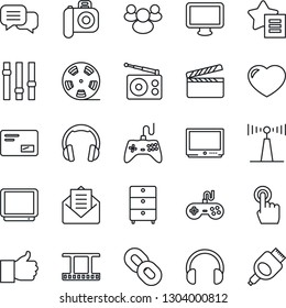 Thin Line Icon Set - clapboard vector, film frame, reel, archive chest, camera, radio, antenna, gamepad, settings, tv, touch screen, dialog, headphones, monitor, chain, group, finger up, heart, mail