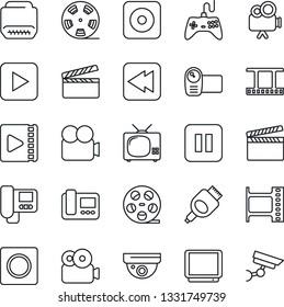 Thin Line Icon Set - clapboard vector, film frame, reel, gamepad, tv, video camera, play button, pause, rewind, rec, hdmi, record, intercome, surveillance