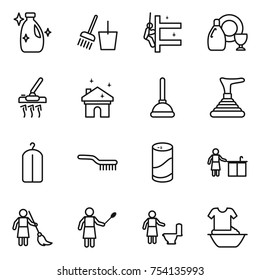 thin line icon set : cleanser, bucket and broom, skyscrapers cleaning, dish, vacuum cleaner, house, plunger, dry wash, brush, powder, kitchen, brooming, woman with duster, toilet, handle washing