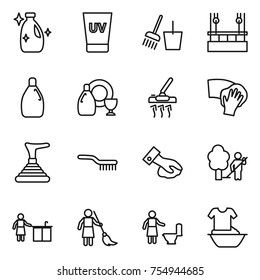 thin line icon set : cleanser, uv cream, bucket and broom, skysrcapers cleaning, dish, vacuum cleaner, wiping, plunger, brush, garden, kitchen, brooming, toilet, handle washing