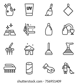 Thin line icon set : cleanser, uv cream, broom, rag, clean floor, skyscrapers cleaning, dish, vacuum cleaner, house, plunger, brush, powder, wiping, brooming