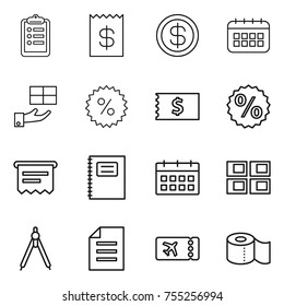 thin line icon set : clipboard, receipt, dollar, calendar, gift, percent, atm, copybook, panel house, drawing compasses, document, ticket, toilet paper