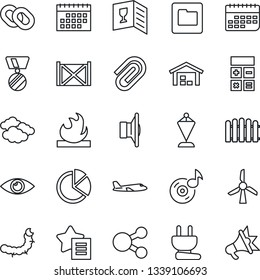 Thin Line Icon Set - clouds vector, plane, calculator, pennant, medal, fence, caterpillar, eye, term, container, flammable, speaker, chain, favorites list, folder, music, calendar, paper clip