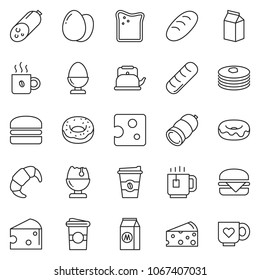 thin line icon set - coffee vector, sausage, cheese, donut, egg, stand, croissant, hamburger, bread, milk, toast, cup, tea, pancakes, kettle, heart