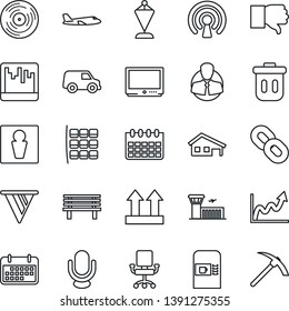 Thin Line Icon Set - coffee machine vector, male, plane, seat map, airport building, pennant, calendar, bench, client, term, up side sign, vinyl, tv, microphone, chain, finger down, scanner, pennon