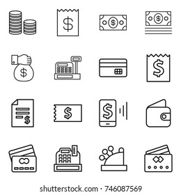thin line icon set : coin stack, receipt, money, gift, cashbox, credit card, account balance, mobile pay, wallet