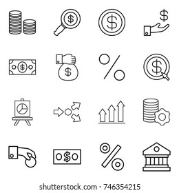 thin line icon set : coin stack, dollar magnifier, investment, money, gift, percent, arrow, presentation, core splitting, graph up, virtual mining, hand, library