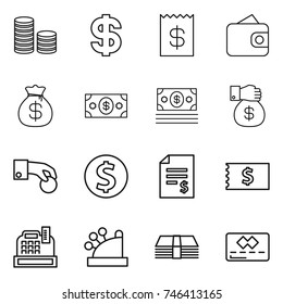 thin line icon set : coin stack, dollar, receipt, wallet, money bag, gift, hand, account balance, cashbox, credit card
