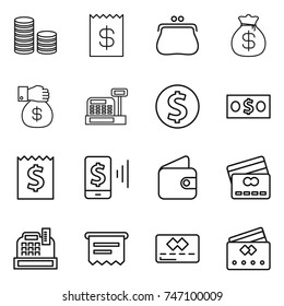 thin line icon set : coin stack, receipt, purse, money bag, gift, cashbox, dollar, mobile pay, wallet, credit card, atm
