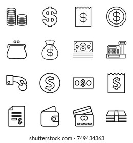 thin line icon set : coin stack, dollar, receipt, purse, money bag, cashbox, hand, account balance, wallet, credit card