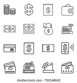 thin line icon set : coin stack, dollar, receipt, wallet, money, gift, cashbox, credit card, mobile pay