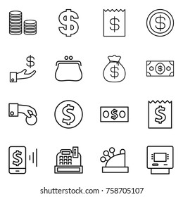 Thin line icon set : coin stack, dollar, receipt, investment, purse, money bag, hand, mobile pay, cashbox, atm
