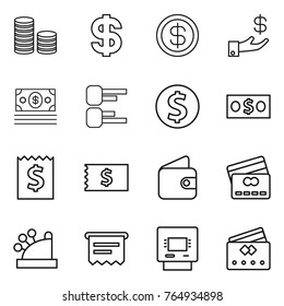 Thin line icon set : coin stack, dollar, investment, money, diagram, receipt, wallet, credit card, cashbox, atm