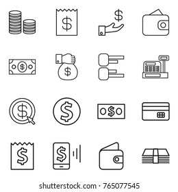 Thin line icon set : coin stack, receipt, investment, wallet, money, gift, diagram, cashbox, dollar arrow, credit card, mobile pay