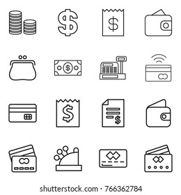 Thin line icon set : coin stack, dollar, receipt, wallet, purse, money, cashbox, tap to pay, credit card, account balance