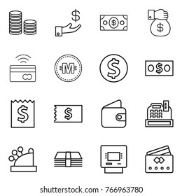 Thin line icon set : coin stack, investment, money, gift, tap to pay, crypto currency, dollar, receipt, wallet, cashbox, atm, credit card