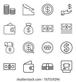 Thin line icon set : coin stack, crisis, dollar, investment, wallet, money bag, gift, arrow, crypto currency, atm