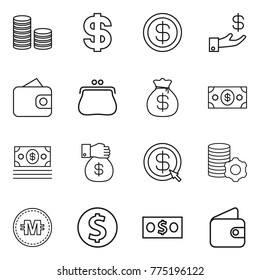 Thin line icon set : coin stack, dollar, investment, wallet, purse, money bag, gift, arrow, virtual mining, crypto currency