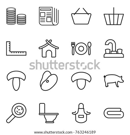 Thin Line Icon Set Coin Stack Stock Vector Royalty Free 763246189