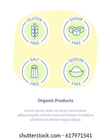 Thin Line Icon Set Concept of Healthy Products. Gluten Free, Sugar Free, Salt and Sodium Free. Healthy food badges, tags set for cafe, restaurants, products packaging.