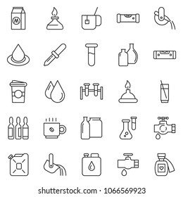 thin line icon set - construction level vector, leak, milk, coffee cup, soda, canister, water drop, metallurgy, glass bottle, dropper, vial, flask, spirit lamp, hot tea, elixir love