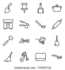 Thin line icon set : construction, pin, scoop, pan, kitchen scales, garlic clasp, ladle, rolling, meat hammer, scissors, wheelbarrow, broom, vacuum cleaner, sponge, brush