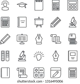 Thin Line Icon Set - contract vector, calculator, graduate, notepad, presentation board, pencil, microscope, notes, copybook, ink pen, book, shining head