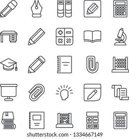 Thin Line Icon Set - contract vector, book, calculator, graduate, abacus, desk, pencil, microscope, notes, copybook, presentation board, paper clip, ink pen, shining head