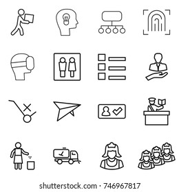 thin line icon set : courier, bulb head, structure, fingerprint, virtual mask, wc, list, client, do not trolley sign, deltaplane, check in, inspector, garbage bin, home call cleaning, cleaner