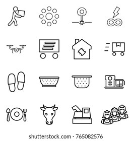Thin line icon set : courier, round around, laser, infinity power, drone, delivery, smart house, fast deliver, slippers, colander, food processor, fork spoon plate, cow, harvester, outsource