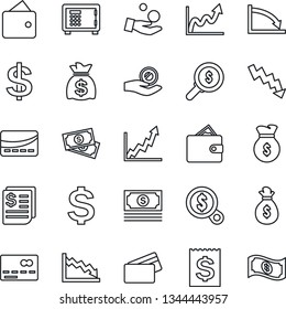 Thin Line Icon Set - credit card vector, safe, dollar sign, money bag, crisis graph, cash, receipt, wallet, growth, search, investment