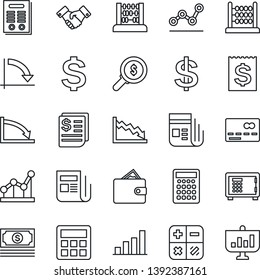 Thin Line Icon Set - credit card vector, safe, handshake, dollar sign, calculator, abacus, crisis graph, cash, receipt, news, bar, point, contract, wallet, money search, presentation