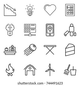 thin line icon set : crisis, bulb, heart, abacus, brain, server, mobile location, passenger, baggage checking, jellyfish, iron board, cake, fire, barn, windmill, bucket and broom