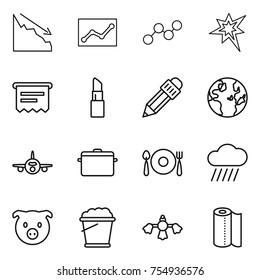 thin line icon set : crisis, statistics, graph, bang, atm receipt, lipstick, pencil, globe, plane, pan, fork spoon plate, rain cloud, pig, foam bucket, hard reach place cleaning, paper towel