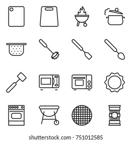 thin line icon set : cutting board, bbq, steam pan, colander, whisk, spatula, big spoon, meat hammer, microwave oven, grill, induction, sieve, pasta
